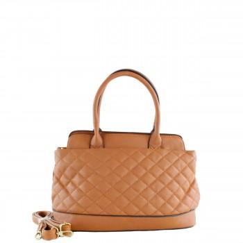 Damen Tasche Handtasche mit Schultergurt aus Kunstleder gesteppt in braun