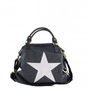 Damen Tasche Handtasche Canvas mit Lederapplikationen in schwarz mit Stern