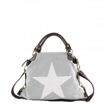 Damen Tasche Handtasche Canvas mit Lederapplikationen in hellgrau mit Stern