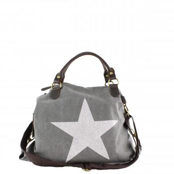 Damen Tasche Handtasche Canvas mit Lederapplikationen in dunkelgrau mit Stern