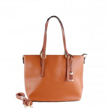 Damen Tasche Handtasche aus Kunstleder mit Struktur in Cognac Braun