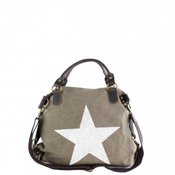 Damen Tasche Handtasche Canvas mit Lederapplikationen in khaki braun mit Stern