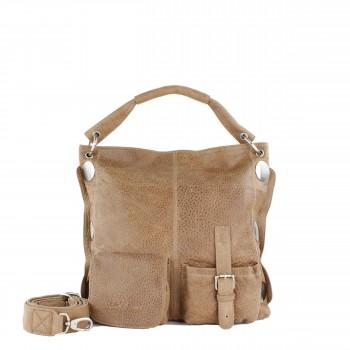 Schuhtzengel Tasche Torina II vintage Leder 63303A in Macadamia