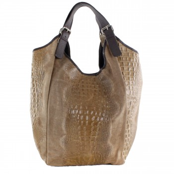 Damen Tasche Shopper aus Leder in brown braun