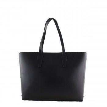 Damen Tasche Handtasche aus Leder in black schwarz