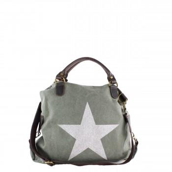Damen Tasche Handtasche aus Canvas mit Lederapplikationen in grün mit Stern