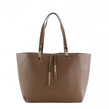 Damen Tasche Handtasche aus Kunstleder in brown braun
