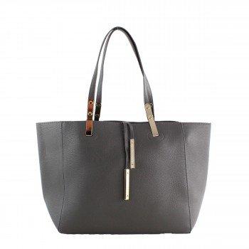 Damen Tasche Handtasche aus Kunstleder in grey grau