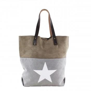 Damen Tasche Handtasche Canvas mit Leder in grey grau mit Stern