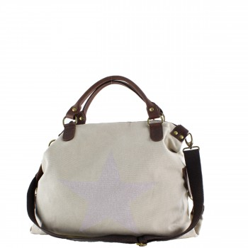 Damen Tasche Handtasche Canvas mit Lederapplikationen in beige mit Stern