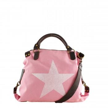 Damen Tasche Handtasche Canvas mit Lederapplikationen in rosa mit Stern