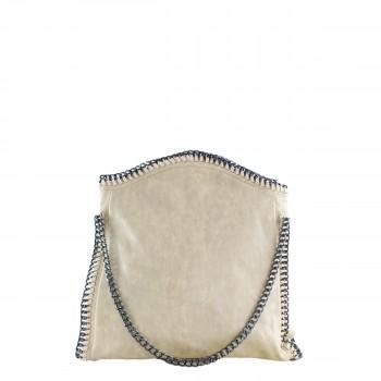 Damen Tasche Handtasche aus Kunstleder mit Kettenhenkel in beige