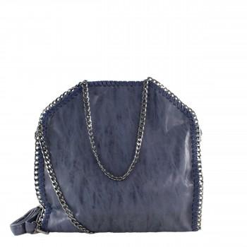 Damen Tasche Handtasche aus Kunstleder mit Kettenhenkel in blau