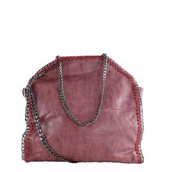 Damen Tasche Handtasche aus Kunstleder mit Kettenhenkel in bordeaux