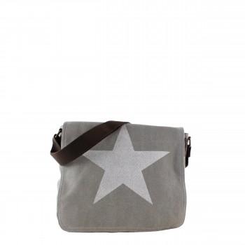 Damen Tasche Handtasche Canvas mit Kunstlederapplikationen in grau mit Stern