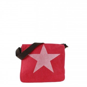 Damen Tasche Handtasche Canvas mit Kunstlederapplikationen in rot mit Stern