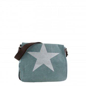 Damen Tasche Handtasche Canvas mit Kunstlederapplikationen in grün mit Stern