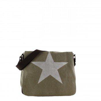 Damen Tasche Handtasche Canvas mit Kunstlederapplikationen in khaki mit Stern