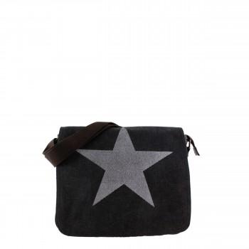 Damen Tasche Handtasche Canvas mit Kunstlederapplikationen in schwarz mit Stern