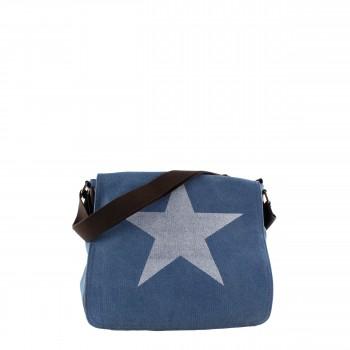 Damen Tasche Handtasche Canvas mit Kunstlederapplikationen in blau mit Stern