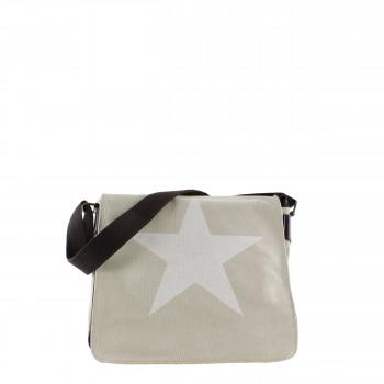 Damen Tasche Handtasche Canvas mit Kunstlederapplikationen in beige mit Stern