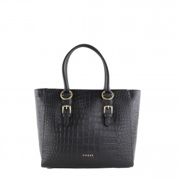 Guess Luxe Damen Tasche Shopper aus Leder in schwarz HWJACC
