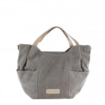Schuhtzengel Tasche Clara in Leder Canvas 65245T in Grau
