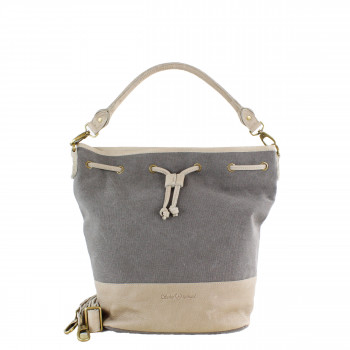 Schuhtzengel Tasche Elvira in Leder Canvas 65261T in Grau