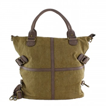 Schuhtzengel Tasche Jessie in Leder Canvas 63961 in Cracked Brown/ Cracked Dust