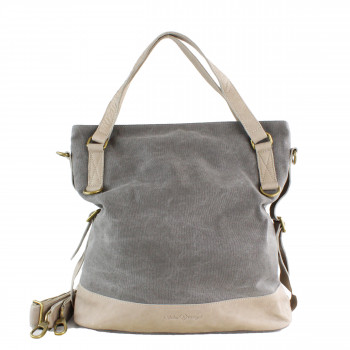 Schuhtzengel Damen Tasche Minna Canvas Leder in Grau