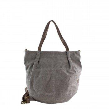 Schuhtzengel Tasche Frida in Leder Canvas 65147 in Grau