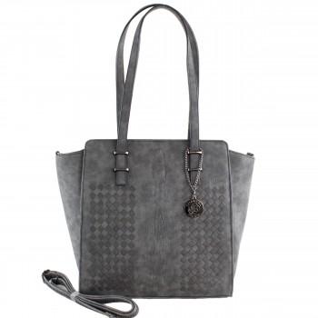 Damen Tasche Handtasche aus Kunstleder in Grau