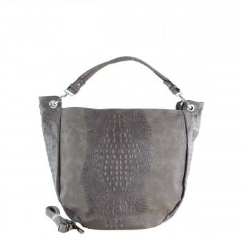 Damen Tasche Shopper aus Kunstleder in grey grau