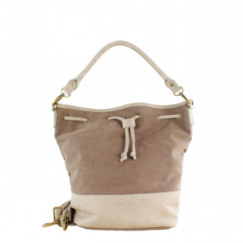 Schuhtzengel Tasche Elvira in Leder Canvas 65261T in Café Vienna