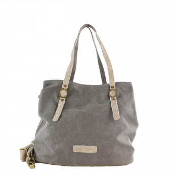 Schuhtzengel Tasche Summer in Leder Canvas 64426 in Grau